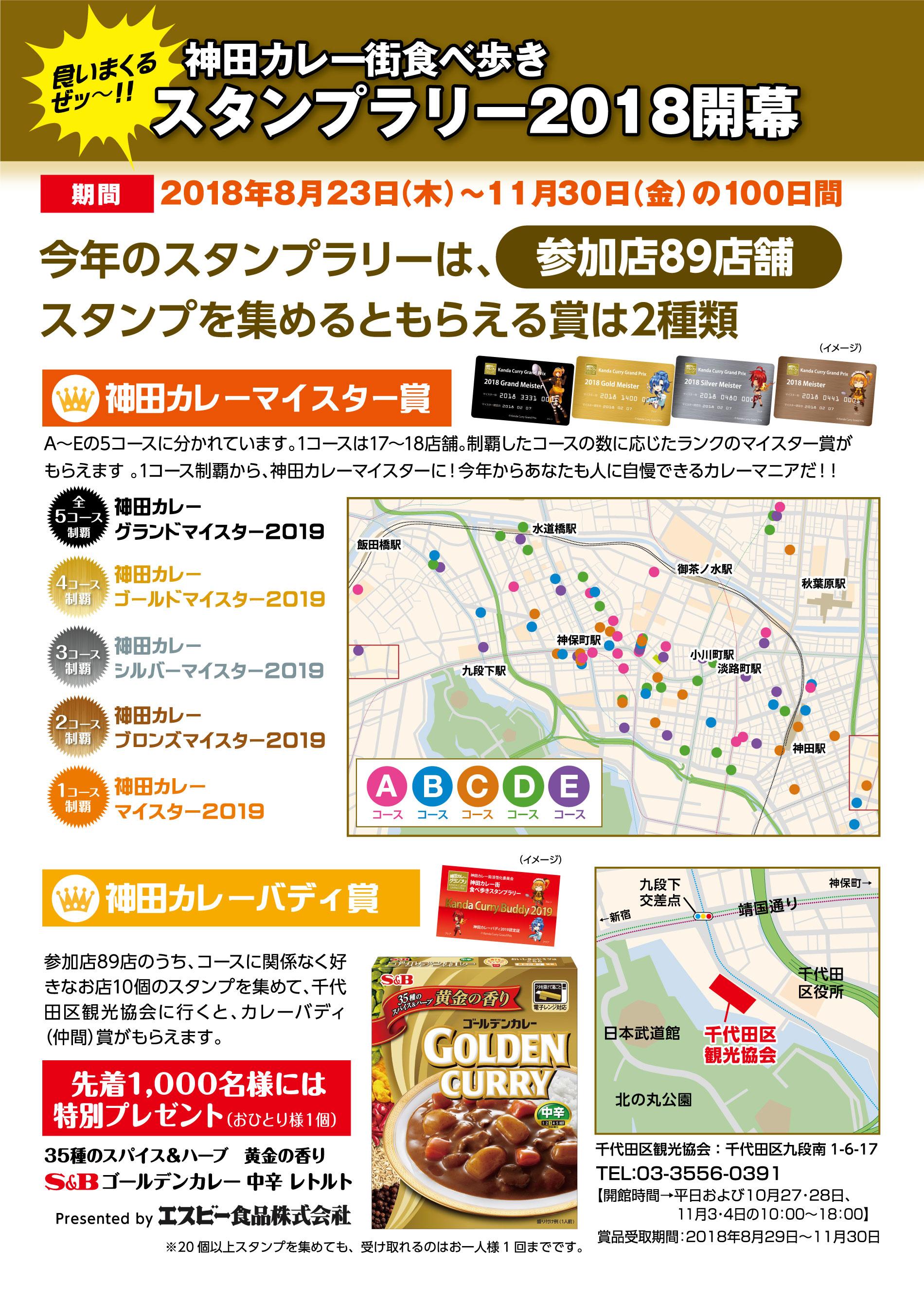 今年のスタンプラリーはもらえる賞が2つ、神田カレーバディ賞を新設